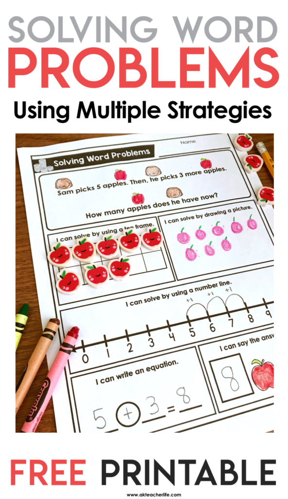 Free solving word problems using multiple strategies worksheets. Students solve word problems using a ten frame, drawing a picture or use a number line.