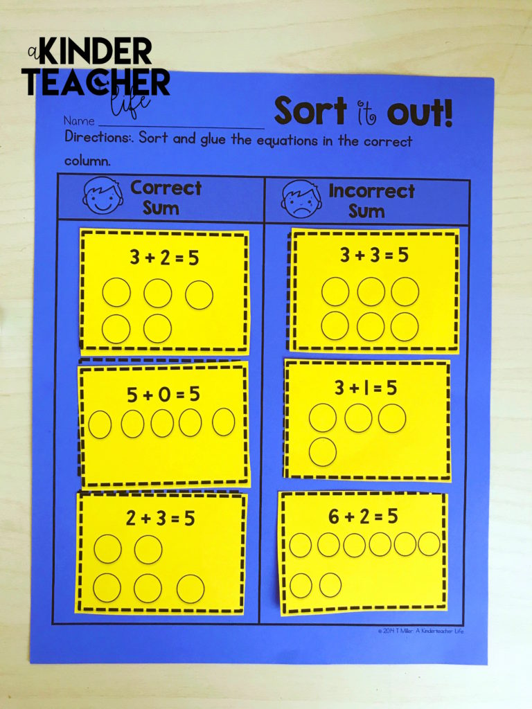 Sorting equations worksheets