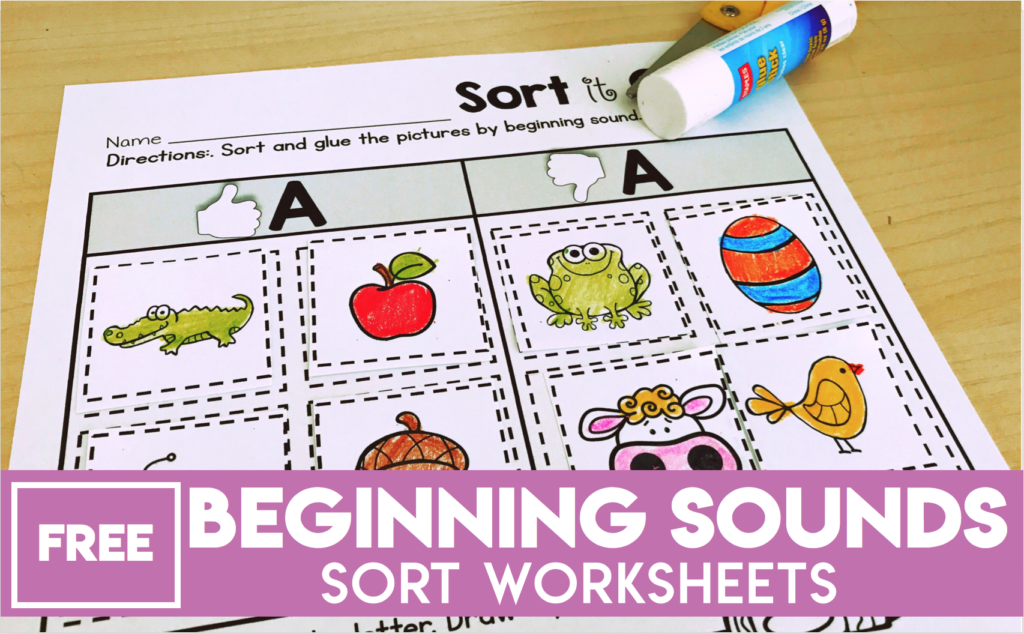 Free Beginning Sounds Sort Worksheets