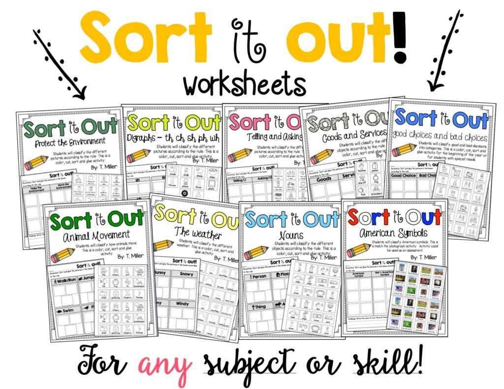 Sort Worksheets No Prep A Kinderteacher Life – Independent Living Skills Worksheets