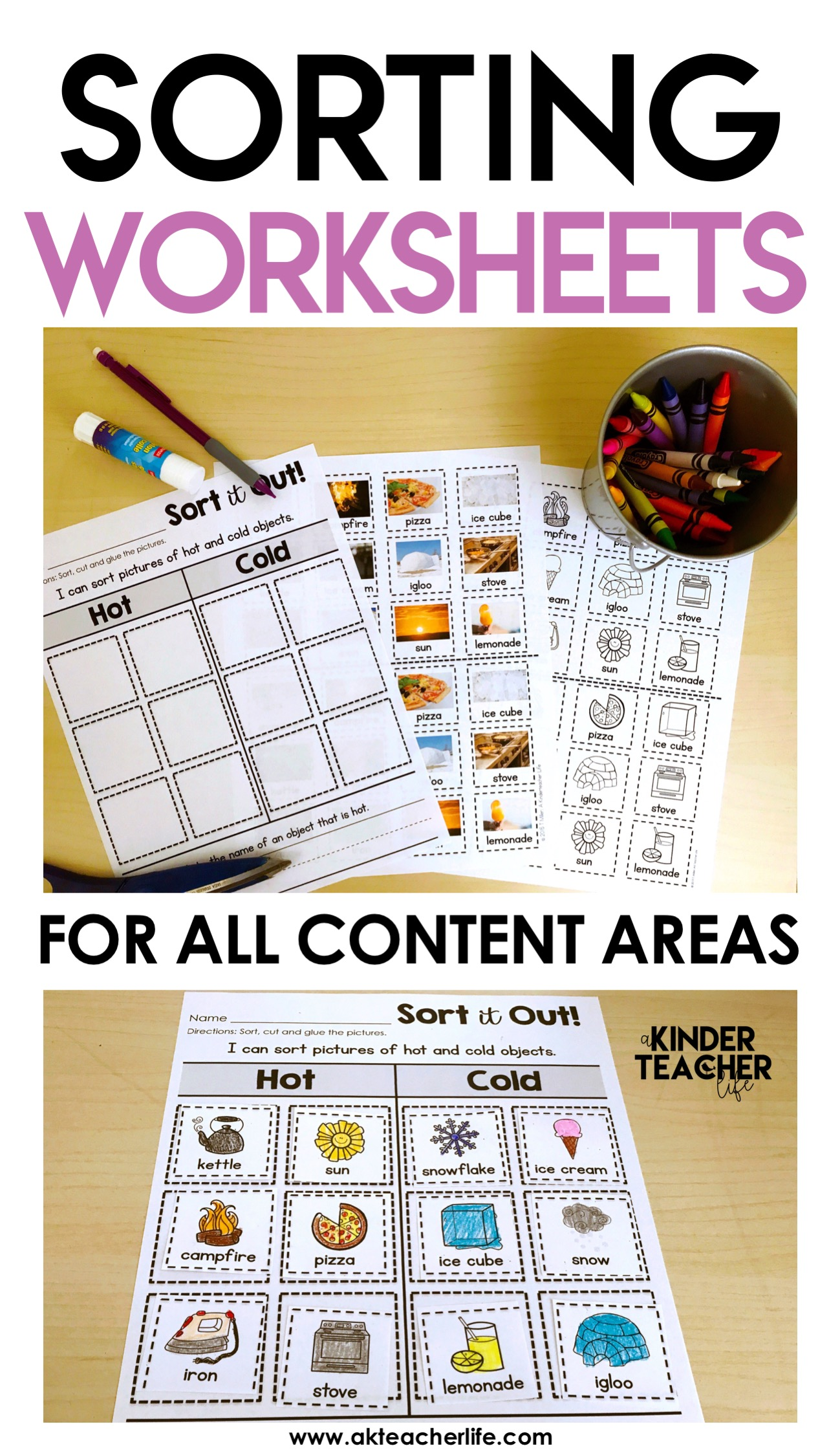 sorting worksheets for all content areas freebie included a kinderteacher life. Black Bedroom Furniture Sets. Home Design Ideas