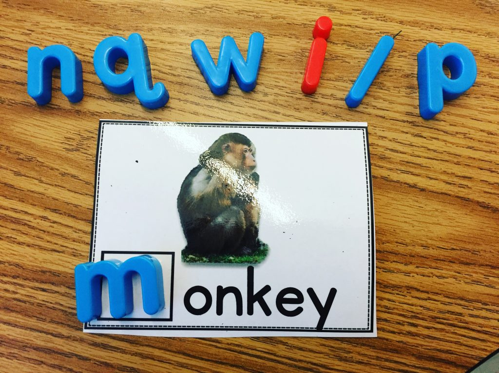 Beginning Sounds game using magnetic letters