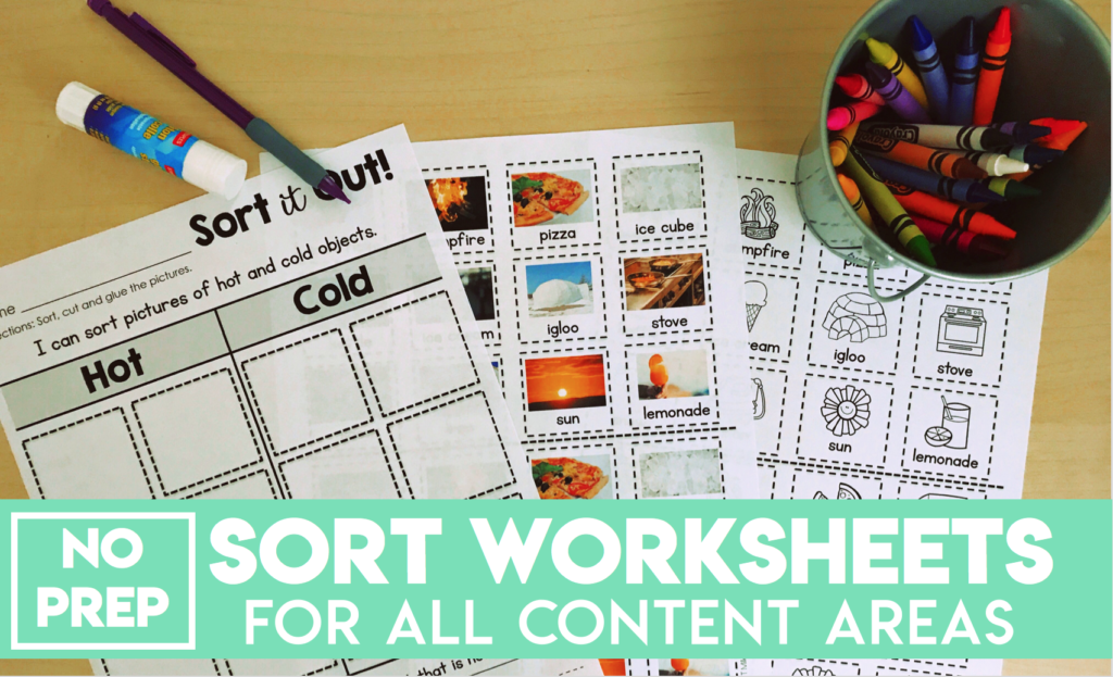 No Prep Sort Worksheets for all content areas for primary students