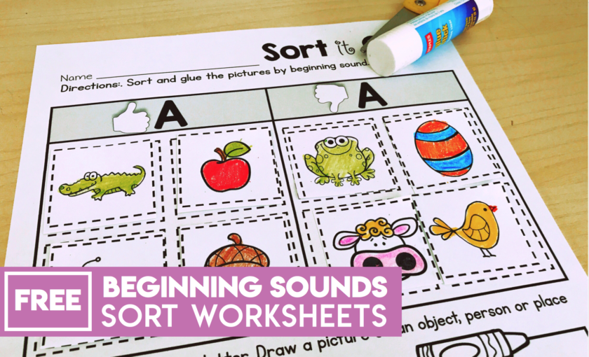 Free NO PREP Beginning Sound Worksheets