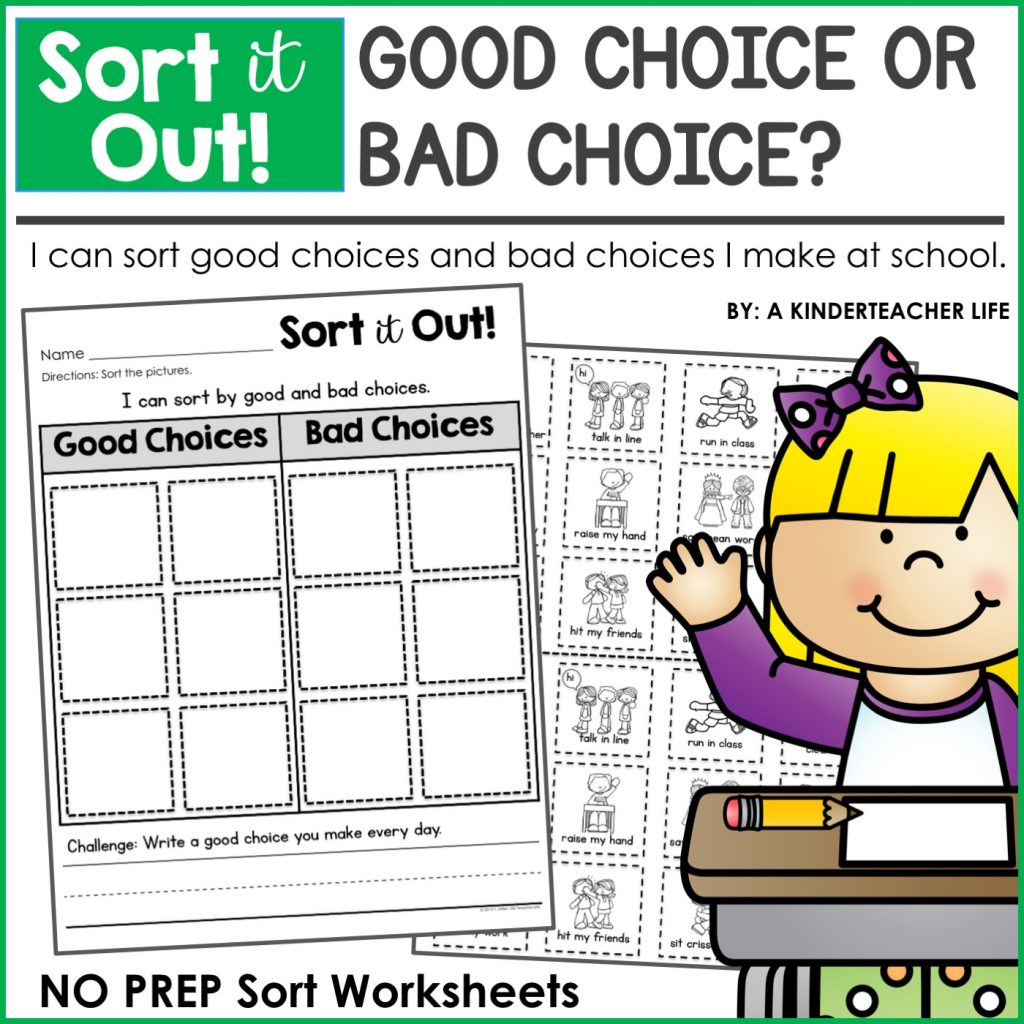 Good Choices and Bad Choices Sort Worksheets