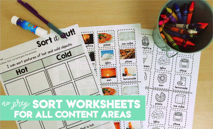 No Prep sort worksheets for all content areas