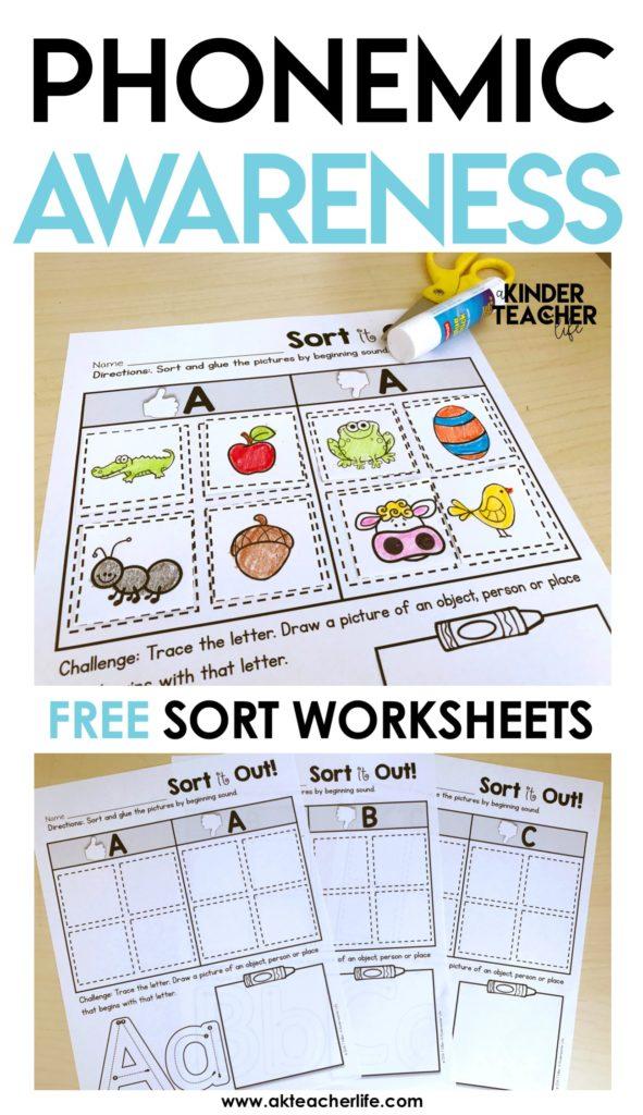 free phonemic awareness sorting worksheets a kinderteacher life. Black Bedroom Furniture Sets. Home Design Ideas