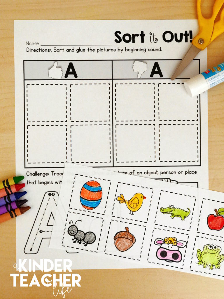 FREE beginning sounds sorting worksheets