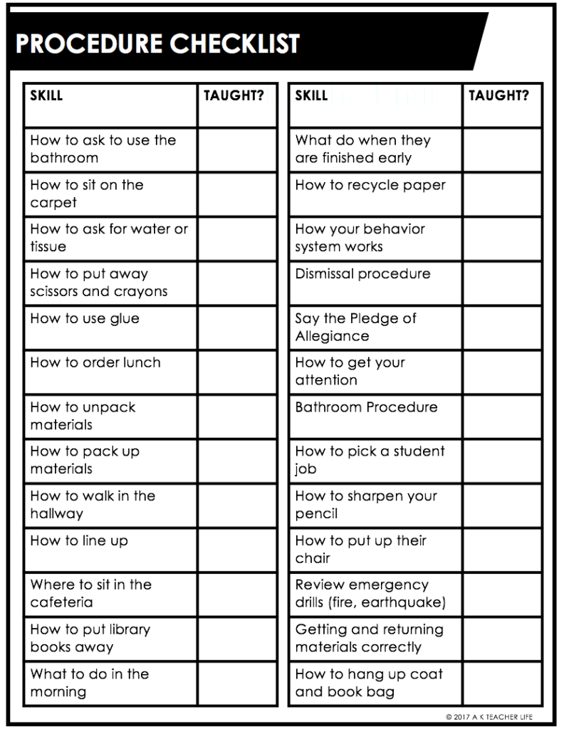 Free Procedure Checklist for the First Week of School