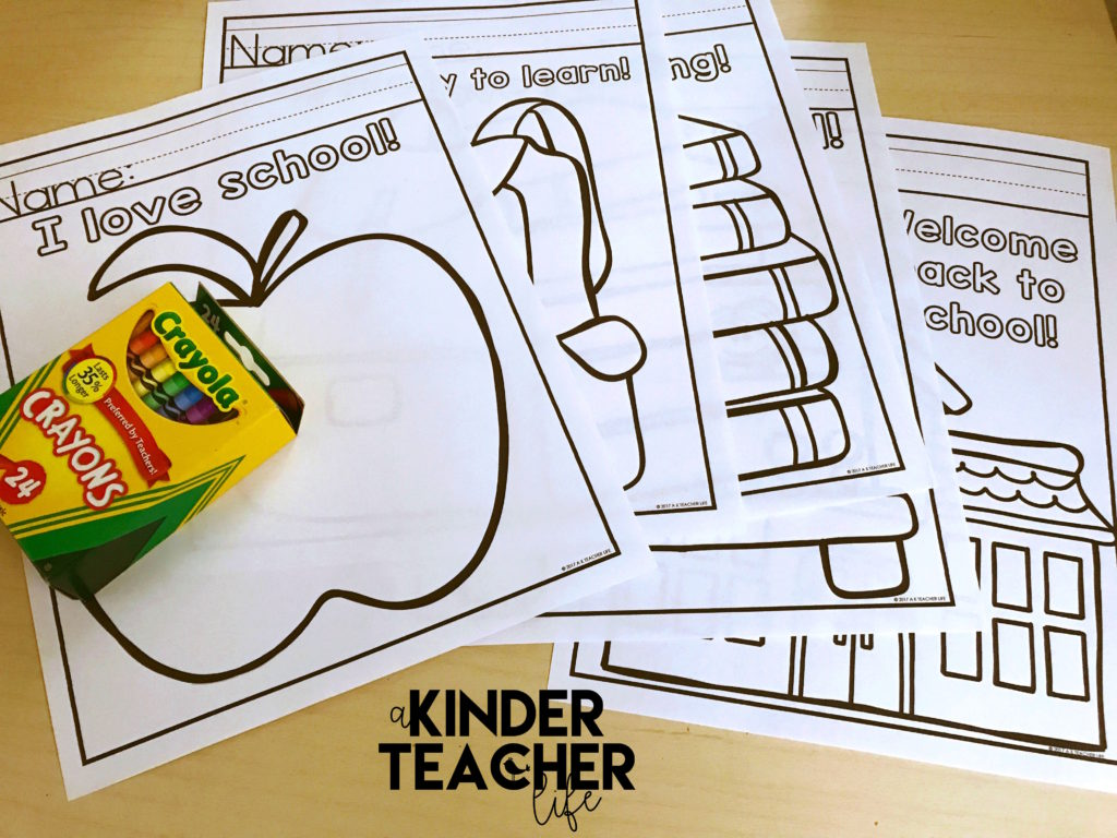Free coloring worksheets for First Day of School