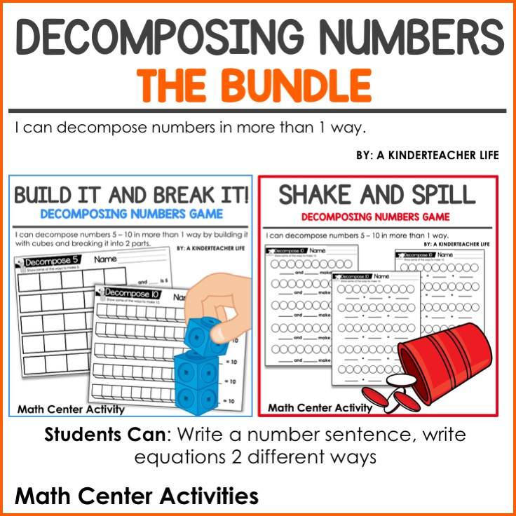 Decomposing Numbers Math Center Activity