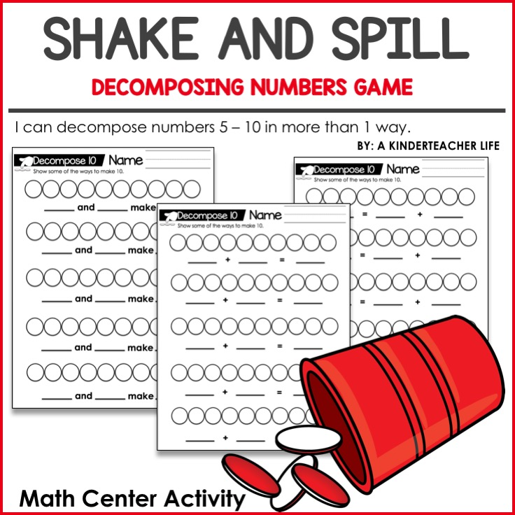 Decomposing Numbres Math Center Activity