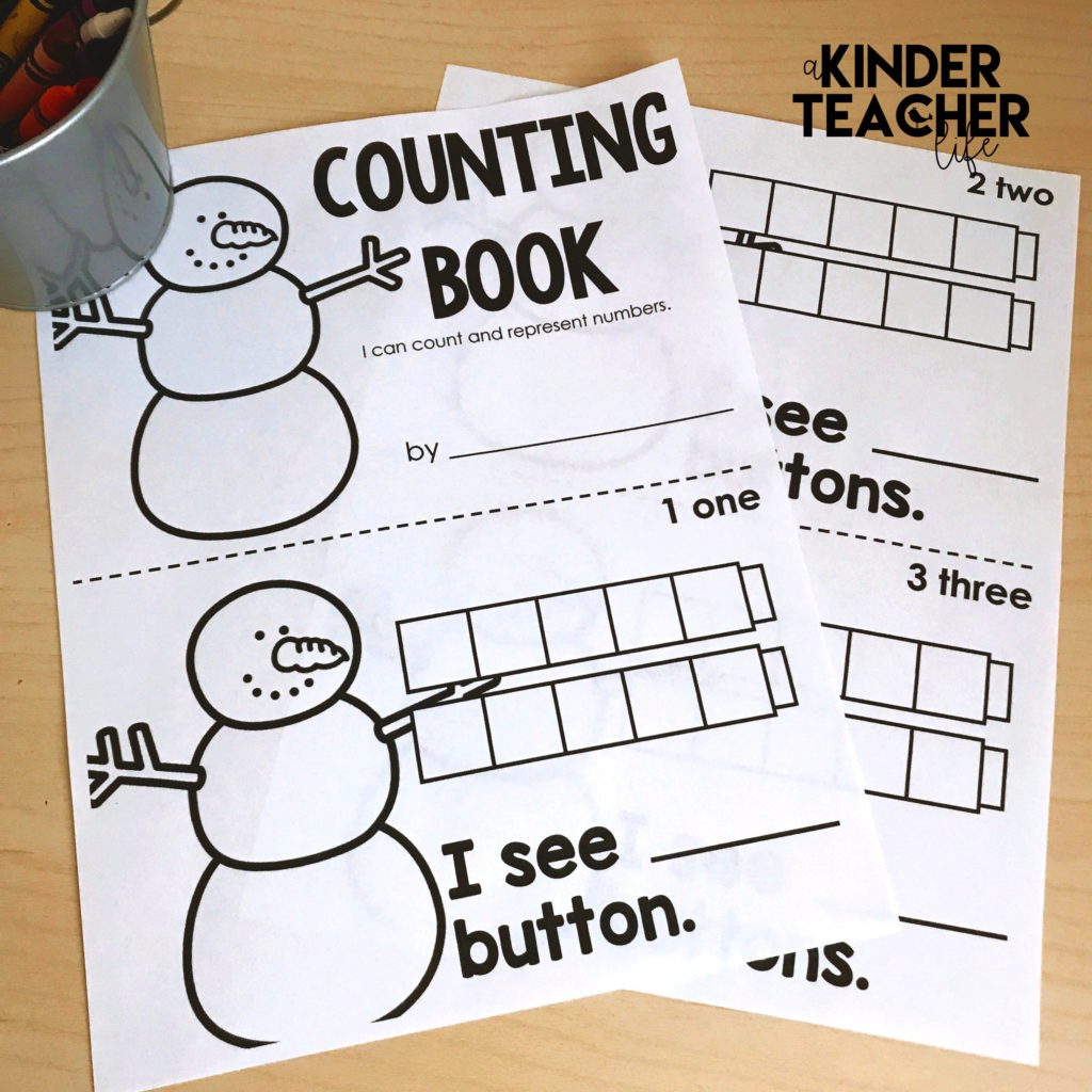 Free snowman themed counting book to 10