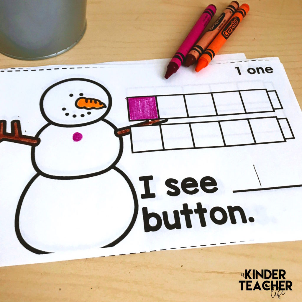 Free printable counting snowman math book for numbers 1 - 10