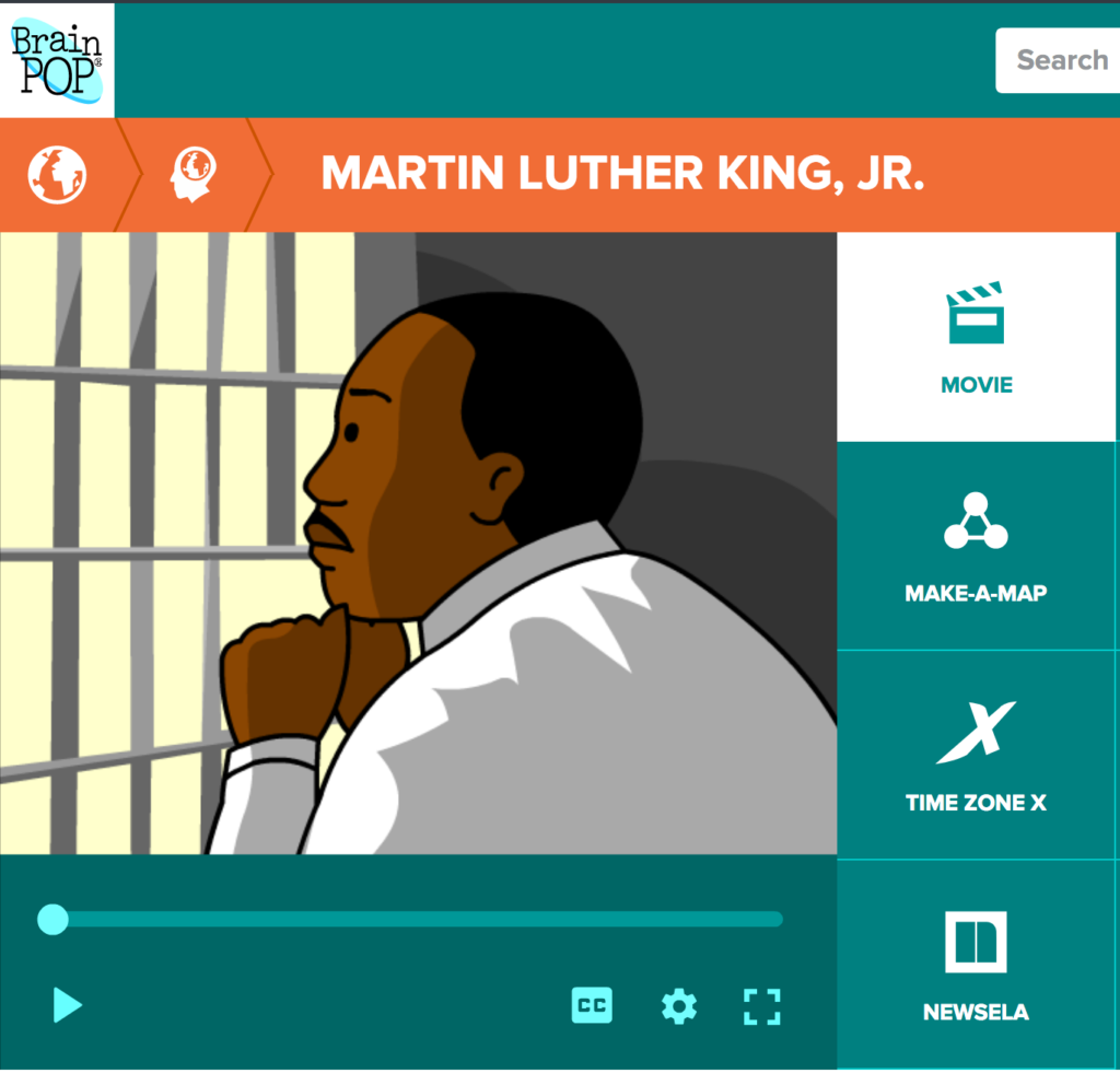 Brain Pop video on the story of Martin Luther King, Jr.