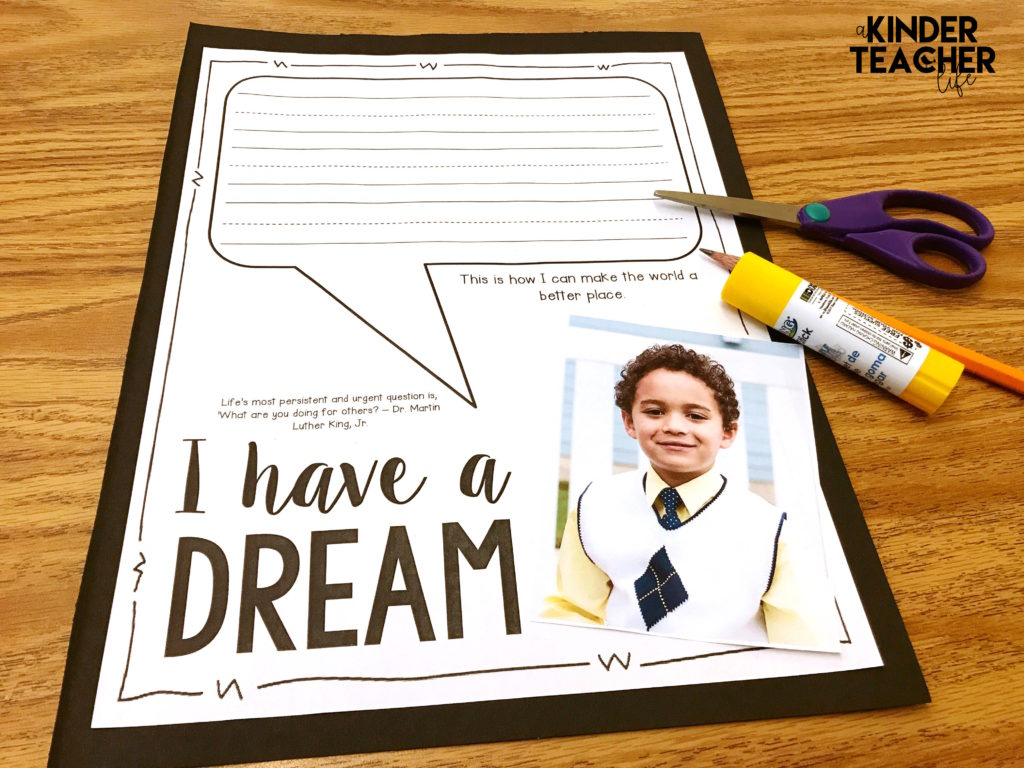 Free Martin Luther King, Jr. Writing prompt for primary aged students. Students write 1 action/behavor that they can do to make the world a better place.