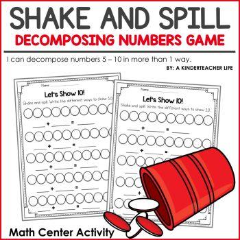 Decomposing Numbers Math Center Games A Kinderteacher Life