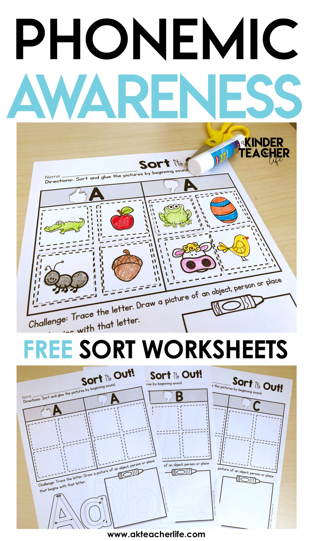 picture about Phonemic Awareness Printable Games identified as No cost Phonemic Expertise Sorting Worksheets - A Kinderteacher
