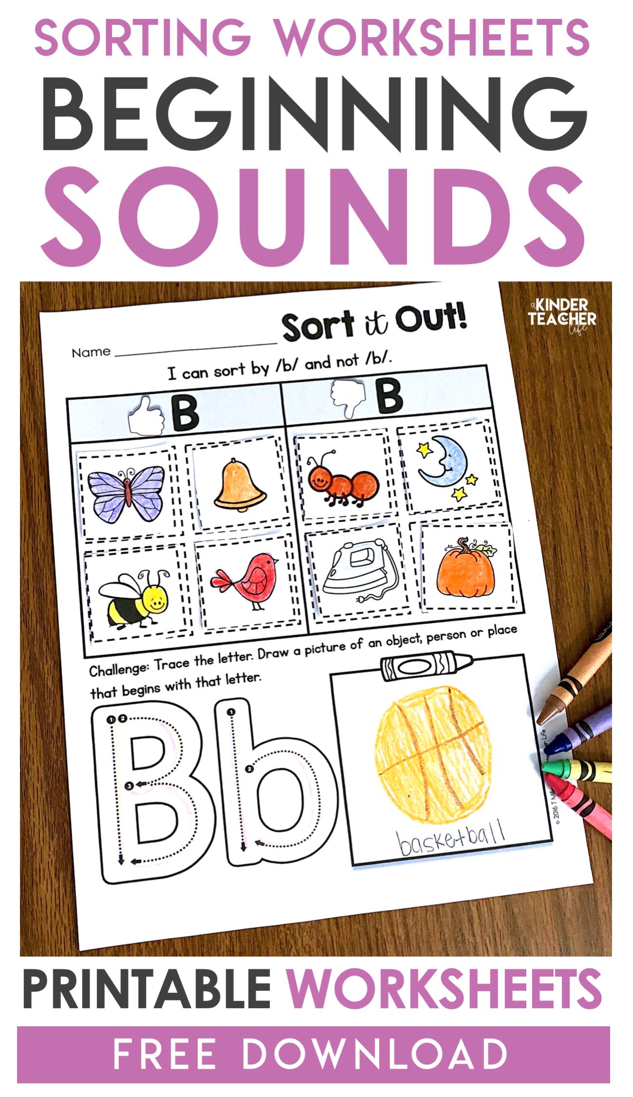 Free Phonemic Awareness Sorting Worksheets A Kinderteacher Life
